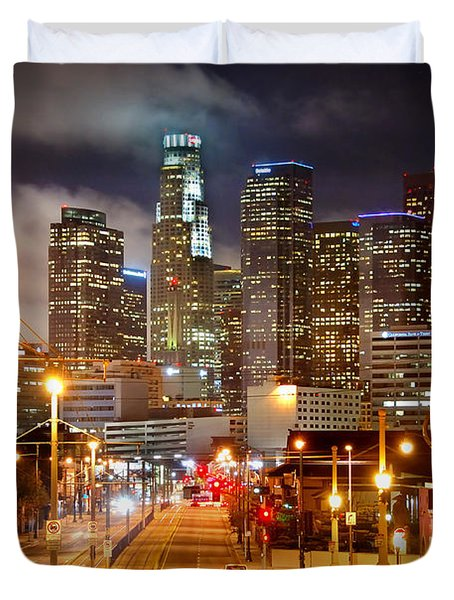 Los Angeles Skyline Night From The East Duvet Cover by Jon Holiday