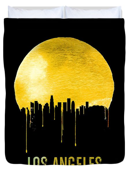 Los Angeles Skyline Yellow Duvet Cover by Naxart Studio