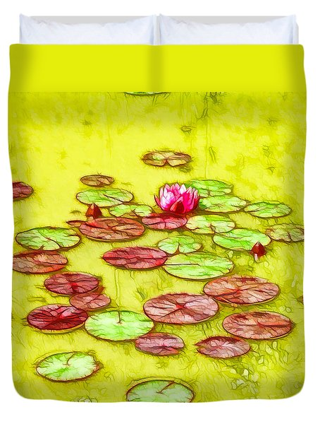 Lotus Flower On The Water 2 Duvet Cover by Lanjee Chee