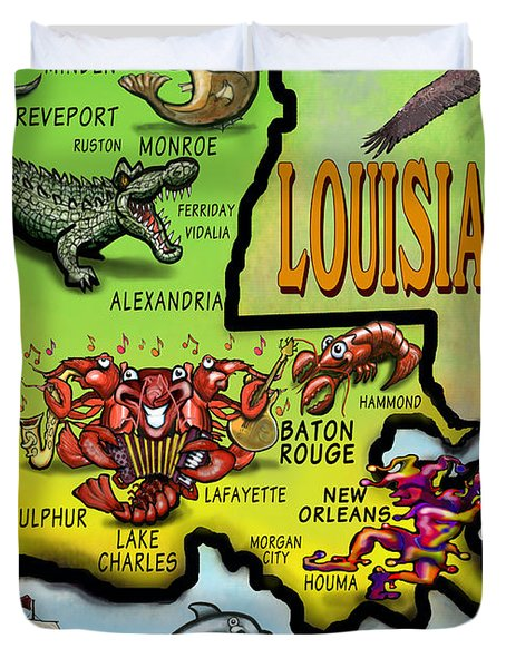 Louisiana Cartoon Map Duvet Cover by Kevin Middleton
