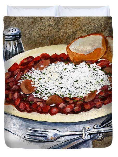 Louisiana Red Beans And Rice Duvet Cover by Elaine Hodges