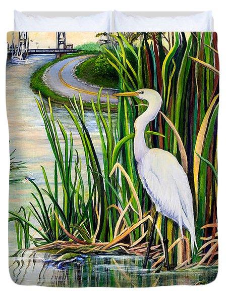 Louisiana Wetlands Duvet Cover by Elaine Hodges