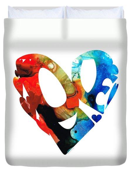 Love 8 - Heart Hearts Romantic Art Duvet Cover by Sharon Cummings