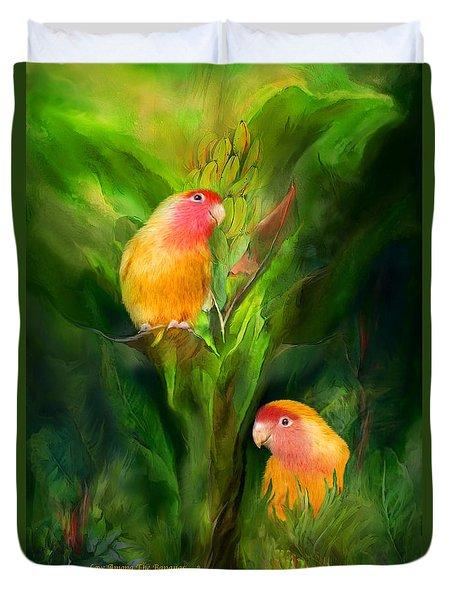 Love Among The Bananas Duvet Cover by Carol Cavalaris