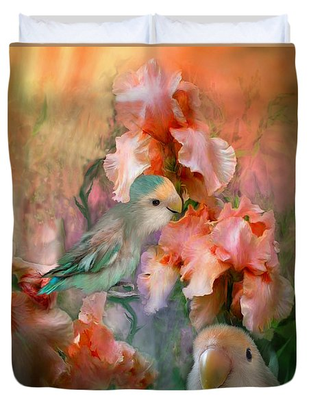 Love Among The Irises Duvet Cover by Carol Cavalaris