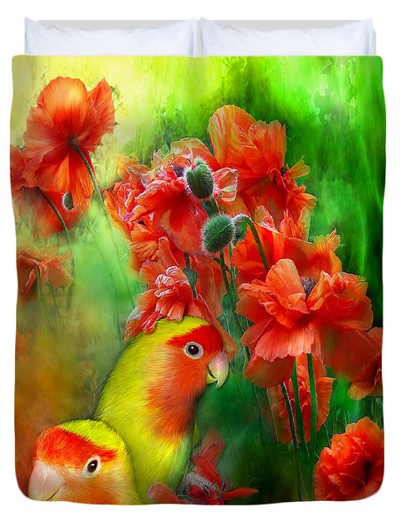 Love Among The Poppies Duvet Cover by Carol Cavalaris