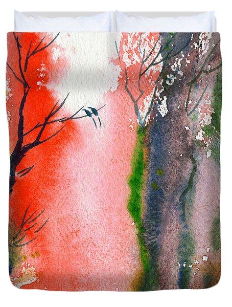 Love Birds 2 Duvet Cover by Anil Nene