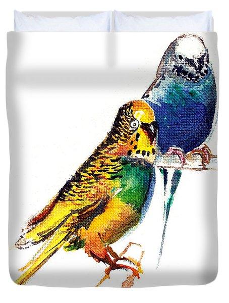Love Birds Duvet Cover by Anil Nene