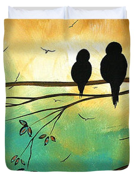 Love Birds By Madart Duvet Cover by Megan Duncanson