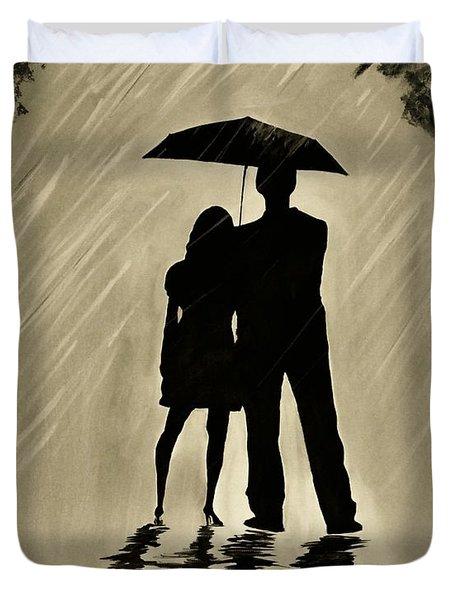 Love In The Rain D Duvet Cover by Leslie Allen