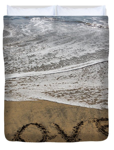 Love On The Beach Duvet Cover by Heidi Smith