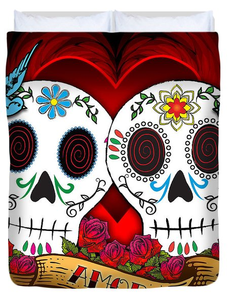 Love Skulls Duvet Cover by Tammy Wetzel