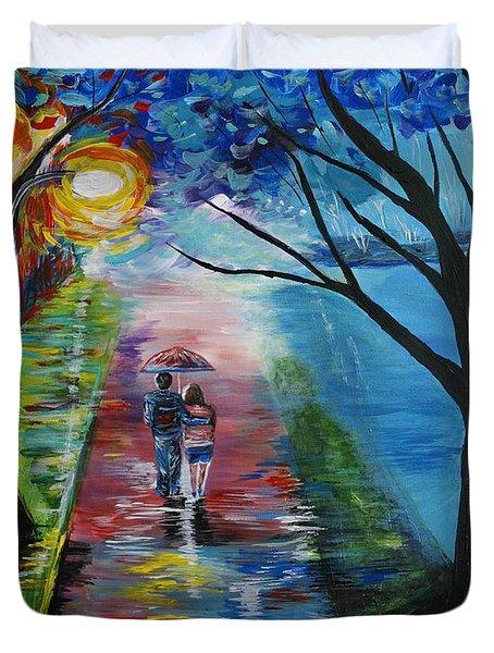 Lovely Stroll By The Lake Duvet Cover by Leslie Allen