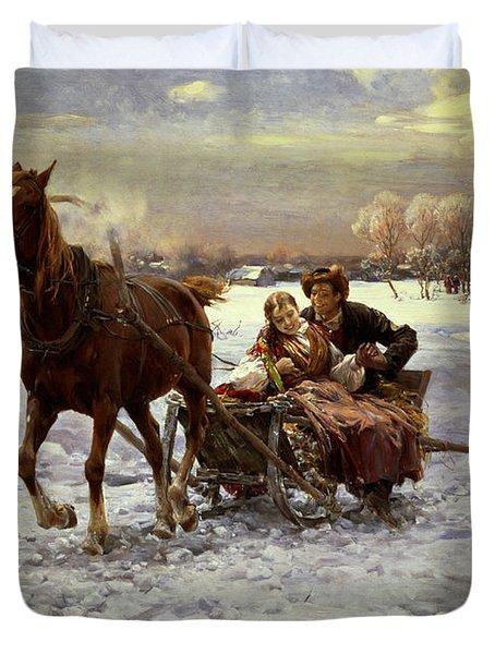 Lovers In A Sleigh Duvet Cover by Alfred von Wierusz Kowalski