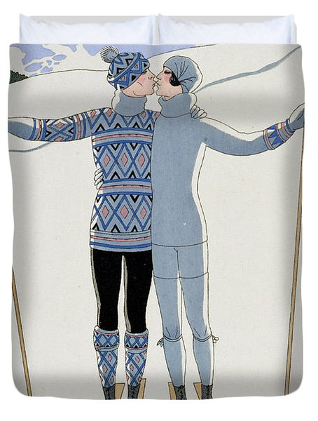 Lovers In The Snow Duvet Cover by Georges Barbier