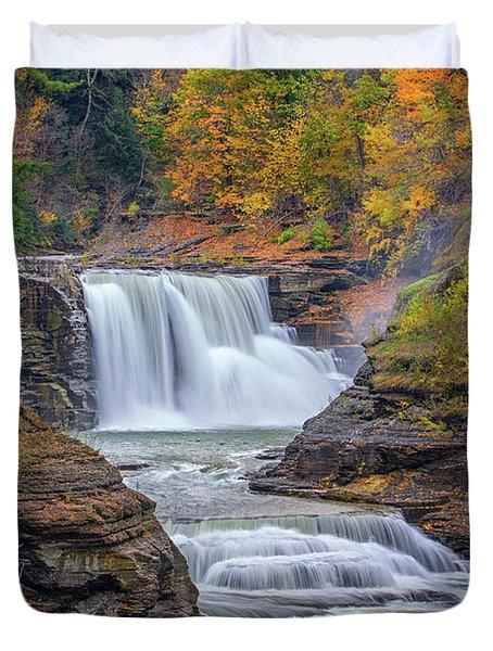 Lower Falls In Autumn Duvet Cover by Rick Berk