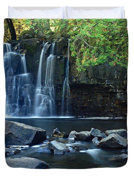 Lower Johnson Falls Duvet Cover by Larry Ricker
