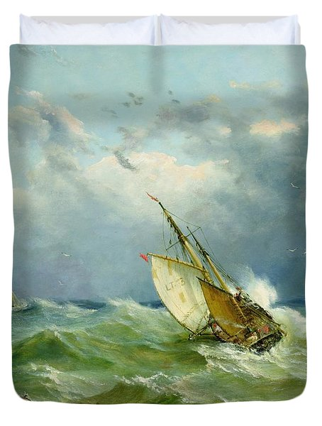 Lowestoft Trawler In Rough Weather Duvet Cover by John Moore