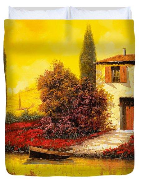 Lungo Il Fiume Tra I Papaveri Duvet Cover by Guido Borelli
