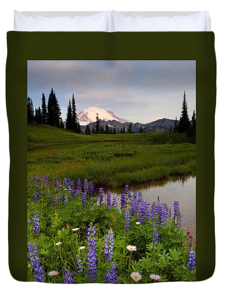 Lupine Sunrise Duvet Cover by Mike  Dawson