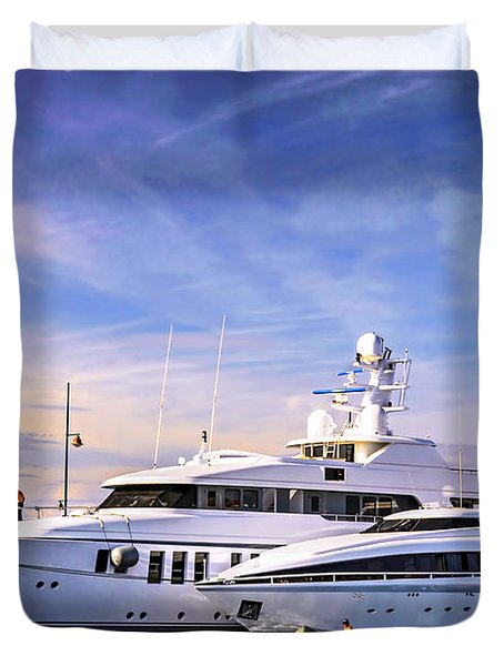 Luxury Yachts Duvet Cover by Elena Elisseeva