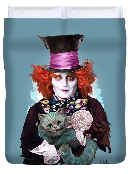 Mad Hatter And Cheshire Cat Duvet Cover by Melanie D