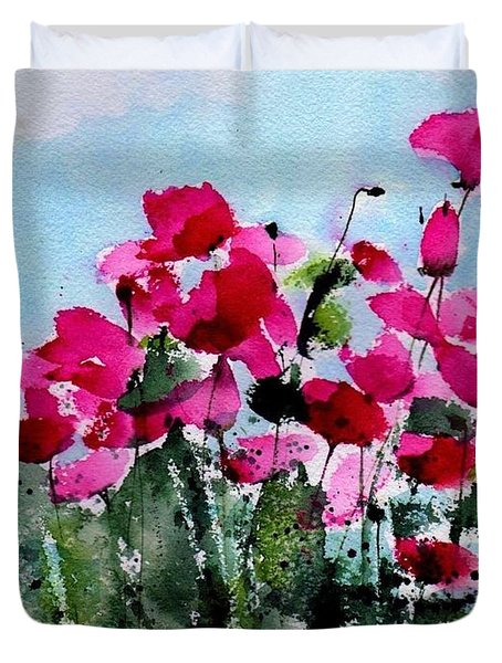 Maddy's Poppies Duvet Cover by Anne Duke