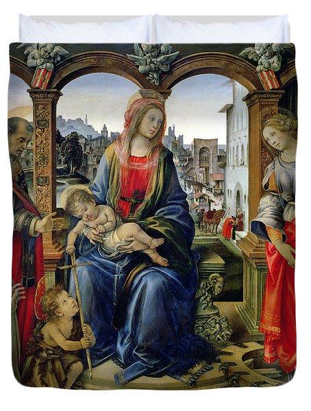 Madonna And Child Duvet Cover by Filippino Lippi