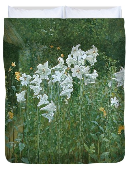 Madonna Lilies In A Garden Duvet Cover by Walter Crane