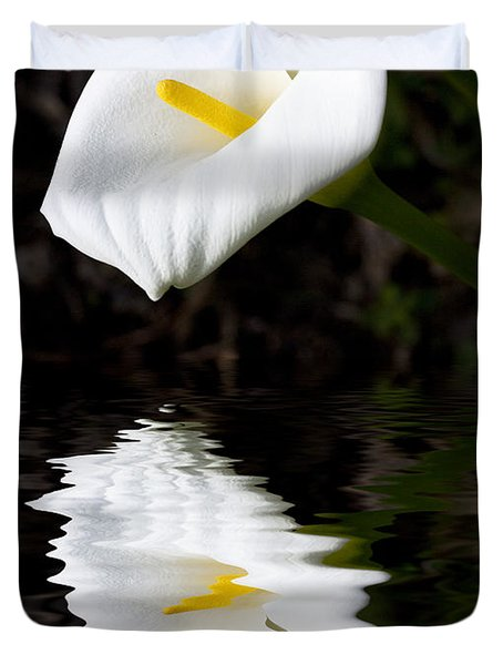 Madonna Lily Reflection Duvet Cover by Sheila Smart