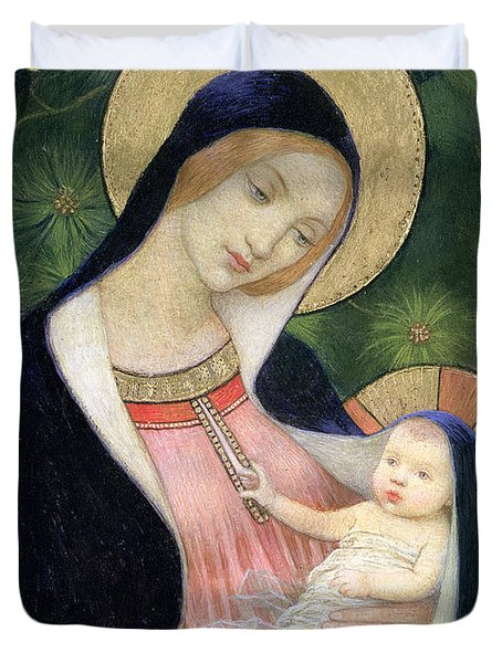 Madonna Of The Fir Tree Duvet Cover by Marianne Stokes