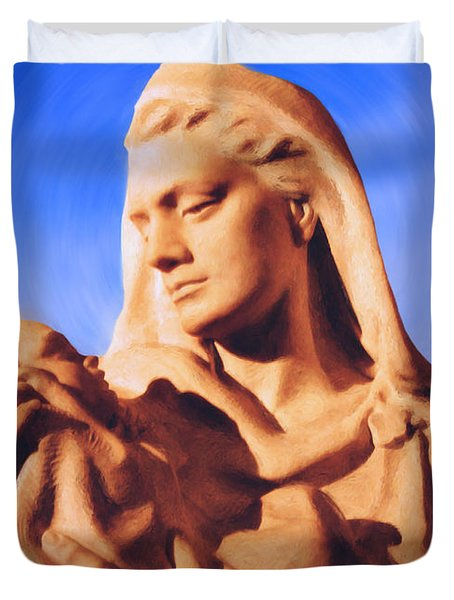 Madonna with Christ Child Duvet Cover by Kristin Elmquist