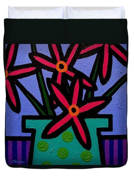Magenta Flowers Duvet Cover by John  Nolan