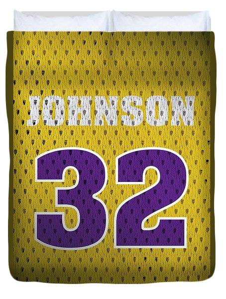Magic Johnson Los Angeles Lakers Number 32 Retro Vintage Jersey Closeup Graphic Design Duvet Cover by Design Turnpike