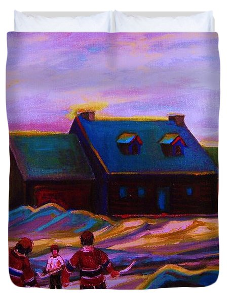 Magical Day For Hockey Duvet Cover by Carole Spandau