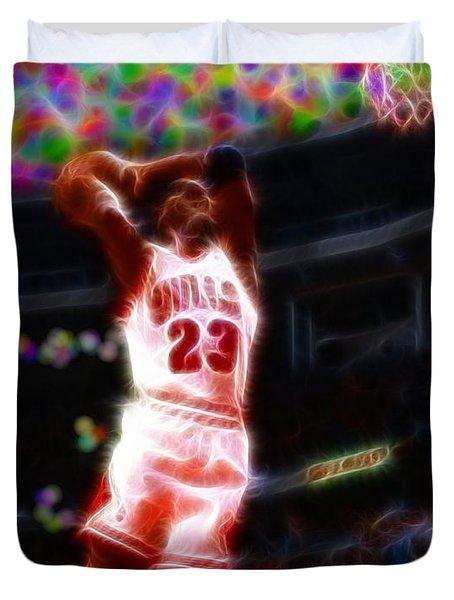 Magical Michael Jordan White Jersey Duvet Cover by Paul Van Scott