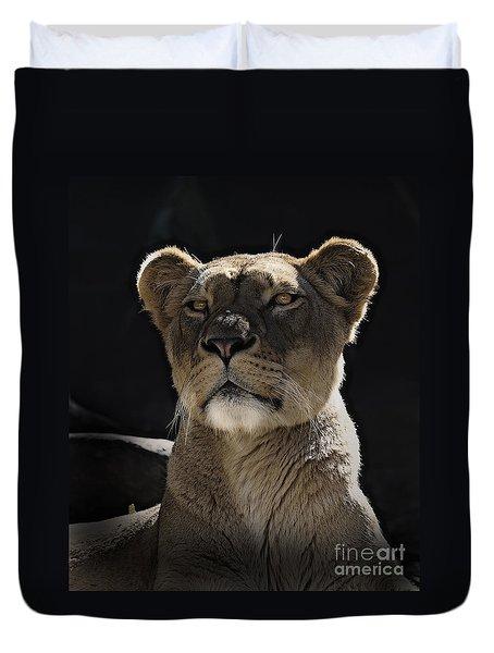 Magnificent Lioness Duvet Cover by Sheila Smart