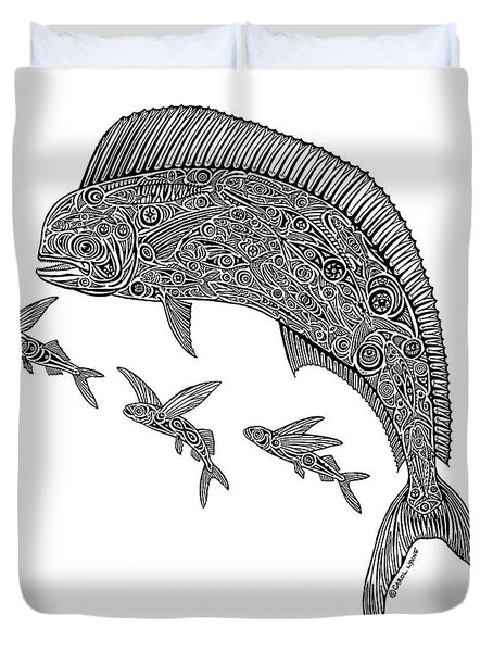 Mahi With Flying Fish Duvet Cover by Carol Lynne