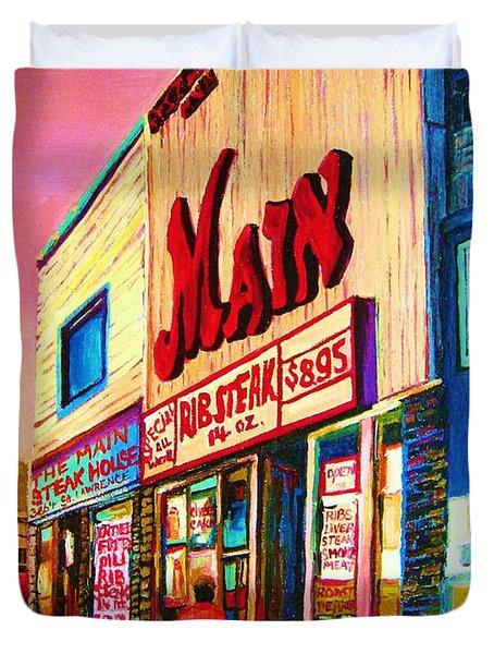 Main Steakhouse Blvd.st.laurent Duvet Cover by Carole Spandau
