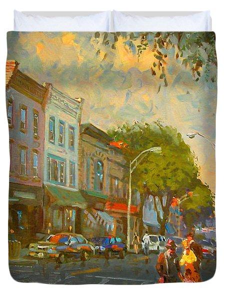 Main Street Nyack Ny  Duvet Cover by Ylli Haruni