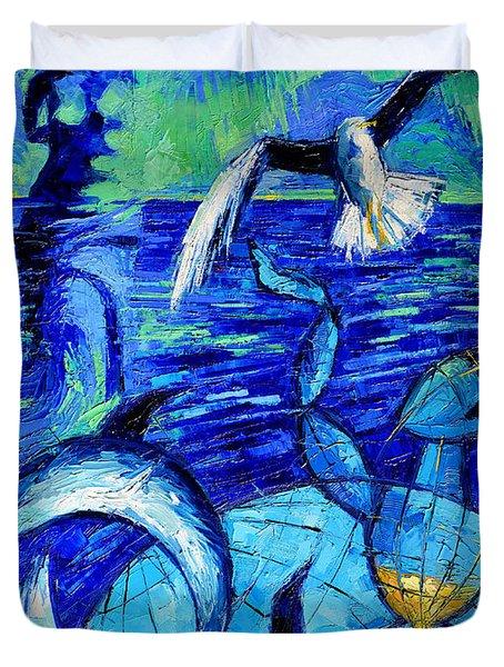 Majestic Bleu Duvet Cover by Mona Edulesco
