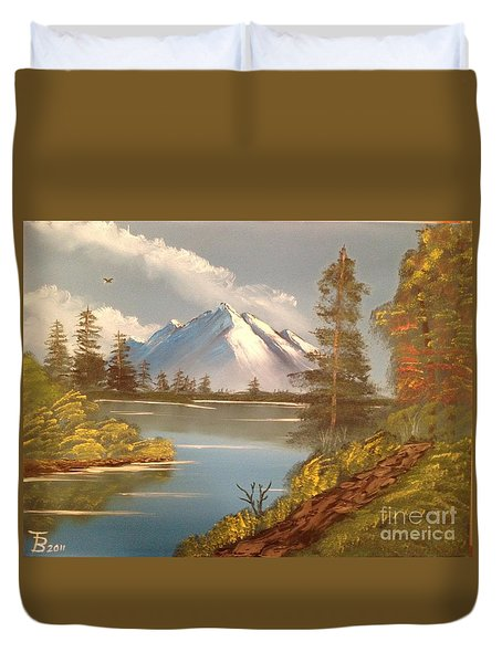 Majestic Mountain Lake Duvet Cover by Tim Blankenship