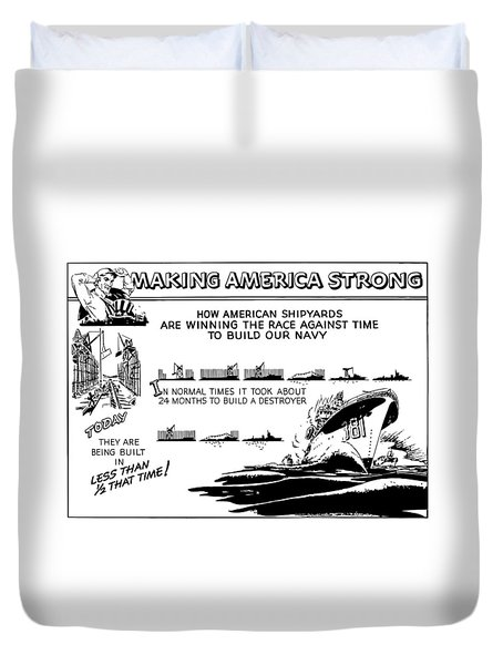 Making America Strong Ww2 Cartoon Duvet Cover by War Is Hell Store