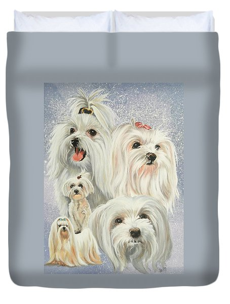 Maltese Collage Duvet Cover by Barbara Keith