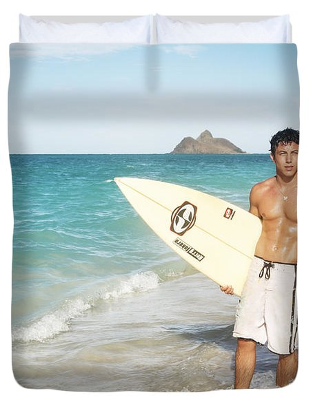 Man at the beach with surfboard Duvet Cover by Brandon Tabiolo - Printscapes