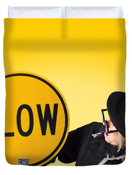 Man holding slow sign during adverse conditions Duvet Cover by Ryan Jorgensen