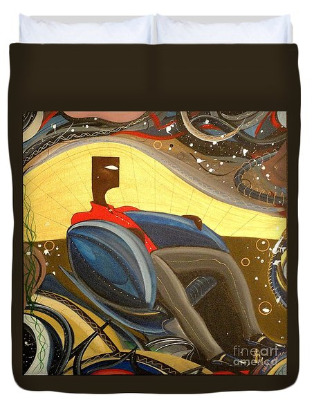 Man In Chair 2 Duvet Cover by John Lyes