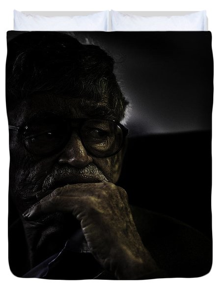 Man On Ferry Duvet Cover by Avalon Fine Art Photography