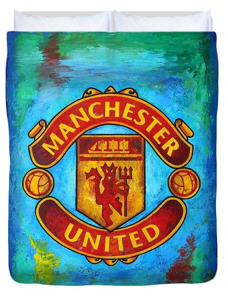 Manchester United Vintage Duvet Cover by Dan Haraga