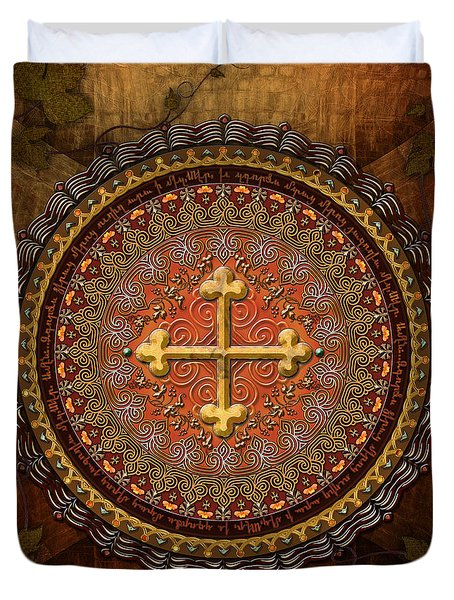 Mandala Armenian Cross Duvet Cover by Bedros Awak